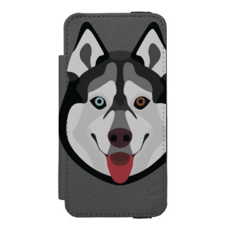 Illustration dogs face Siberian Husky Incipio Watson™ iPhone 5 Wallet Case