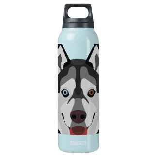 Illustration dogs face Siberian Husky Insulated Water Bottle