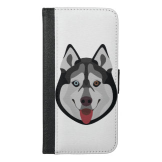 Illustration dogs face Siberian Husky iPhone 6/6s Plus Wallet Case