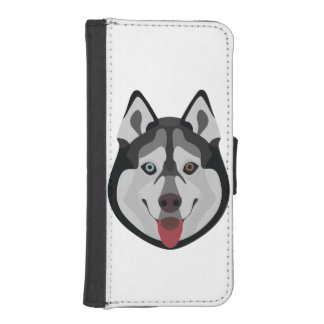 Illustration dogs face Siberian Husky iPhone SE/5/5s Wallet Case