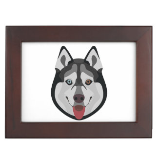 Illustration dogs face Siberian Husky Keepsake Box