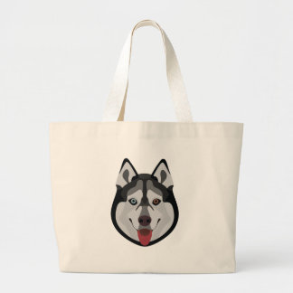 Illustration dogs face Siberian Husky Large Tote Bag