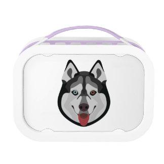 Illustration dogs face Siberian Husky Lunch Box