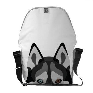 Illustration dogs face Siberian Husky Messenger Bag
