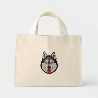 Illustration dogs face Siberian Husky Mini Tote Bag