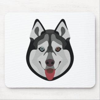 Illustration dogs face Siberian Husky Mouse Pad