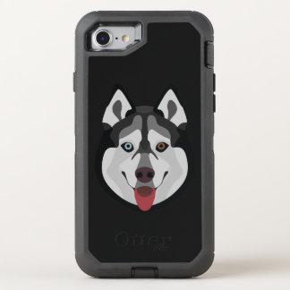 Illustration dogs face Siberian Husky OtterBox Defender iPhone 8/7 Case