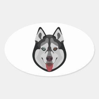 Illustration dogs face Siberian Husky Oval Sticker