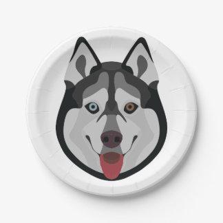 Illustration dogs face Siberian Husky Paper Plate