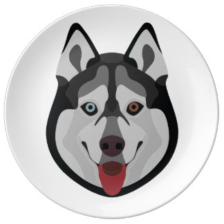 Illustration dogs face Siberian Husky Plate
