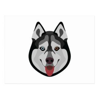 Illustration dogs face Siberian Husky Postcard