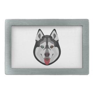 Illustration dogs face Siberian Husky Rectangular Belt Buckle