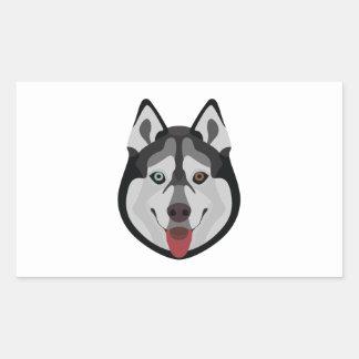 Illustration dogs face Siberian Husky Rectangular Sticker