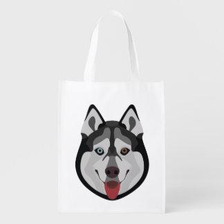 Illustration dogs face Siberian Husky Reusable Grocery Bag