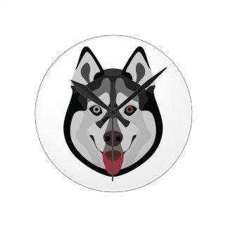 Illustration dogs face Siberian Husky Round Clock