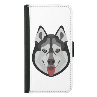 Illustration dogs face Siberian Husky Samsung Galaxy S5 Wallet Case
