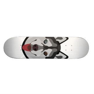 Illustration dogs face Siberian Husky Skateboard