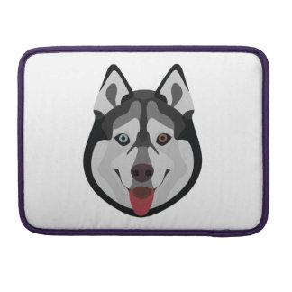 Illustration dogs face Siberian Husky Sleeve For MacBook Pro