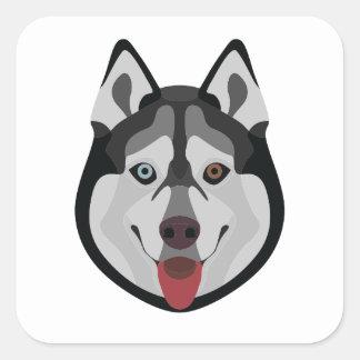 Illustration dogs face Siberian Husky Square Sticker