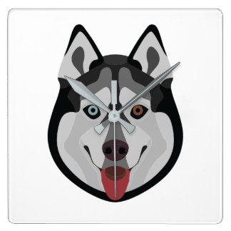 Illustration dogs face Siberian Husky Square Wall Clock