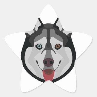 Illustration dogs face Siberian Husky Star Sticker