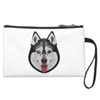 Illustration dogs face Siberian Husky Suede Wristlet