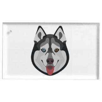 Illustration dogs face Siberian Husky Table Card Holder