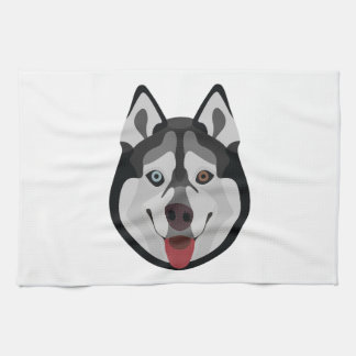 Illustration dogs face Siberian Husky Tea Towel