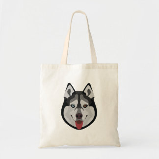 Illustration dogs face Siberian Husky Tote Bag