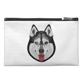 Illustration dogs face Siberian Husky Travel Accessory Bag
