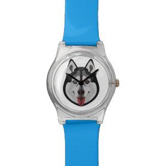 Illustration dogs face Siberian Husky Watch