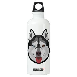 Illustration dogs face Siberian Husky Water Bottle