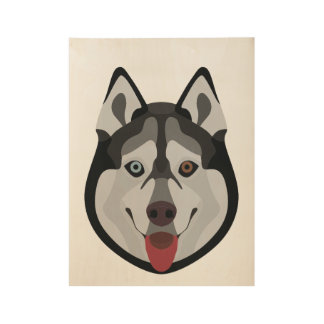 Illustration dogs face Siberian Husky Wood Poster