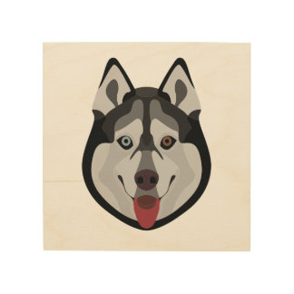 Illustration dogs face Siberian Husky Wood Print