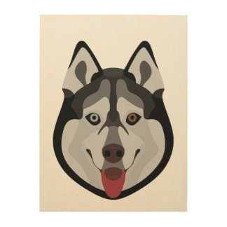 Illustration dogs face Siberian Husky Wood Wall Art