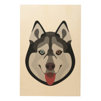 Illustration dogs face Siberian Husky Wood Wall Decor