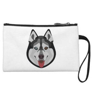 Illustration dogs face Siberian Husky Wristlet