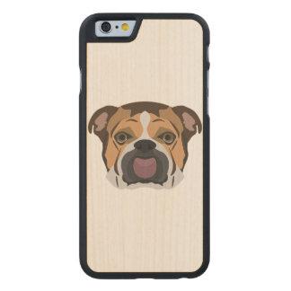 Illustration English Bulldog Carved Maple iPhone 6 Case