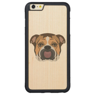 Illustration English Bulldog Carved Maple iPhone 6 Plus Bumper Case