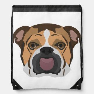 Illustration English Bulldog Drawstring Bag