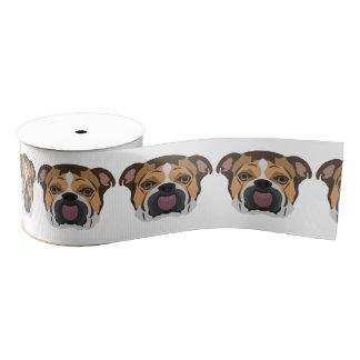 Illustration English Bulldog Grosgrain Ribbon