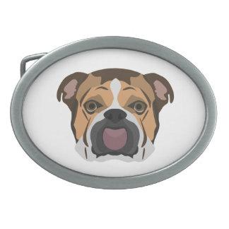 Illustration English Bulldog Oval Belt Buckle