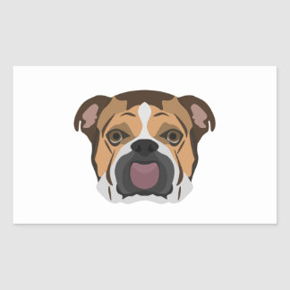 Illustration English Bulldog Rectangular Sticker