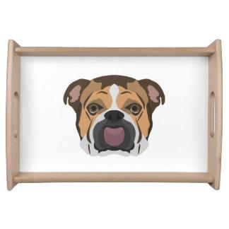 Illustration English Bulldog Serving Tray