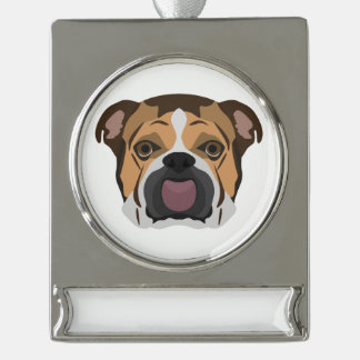 Illustration English Bulldog Silver Plated Banner Ornament