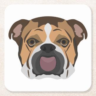 Illustration English Bulldog Square Paper Coaster