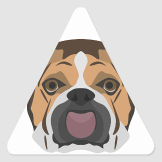 Illustration English Bulldog Triangle Sticker