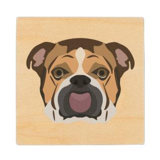 Illustration English Bulldog Wood Coaster