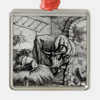 Illustration for 'The Dog and the Ox' Metal Ornament