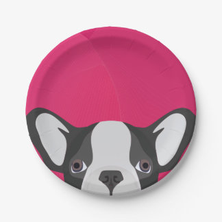 Illustration French Bulldog with pink background Paper Plate